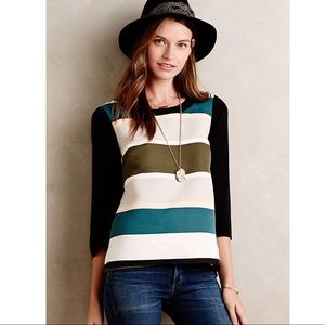Anthro▪️Troubadour Rugby Striped Blouse. Sz 0/ XS